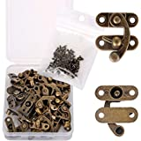 PGMJ 20 Pieces Thickened Solid Bronze Tone Antique Right Latch Hook Hasp Horn Lock Wood Jewelry Box Latch Hook Clasp and 80 R