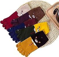 Sandy ting 「5双装」女士 五指袜 脚踝 棉 猫图案 动物 5指袜 薄款 运动鞋用 清凉吸汗速干 女性用 抗菌防臭 21-24cm