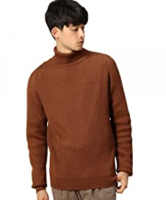 Wool Rib Turtleneck Sweater 1213-106-3182: Brown