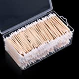 Norme 500 Pieces Cotton Cleaning Swabs, Pointed/Round Tip with Wooden Handle Cleaning Swabs Cotton Buds for Jewelry Ceramics