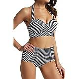 Snailify Womens Long Line Swimsuit Two Piece Push Up Vintage Striped Bathing Suit