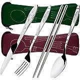 8 Pieces Flatware Sets Knife, Fork, Spoon, Chopsticks, SENHAI 2 Pack Rustproof Stainless Steel Tableware Dinnerware with Carr