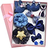 Aerolite Girl Hair Clips 10 Pcs Girl Bowknot Flower Hair Clip Multi-Style Bow Hairpin Ribbon Xmas Gift (Blue)