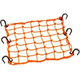 "15""x15"" PowerTye Mfg Cargo Net Featuring 6 Adjustable Hooks & Tight 2""x2"" Mesh, Orange"