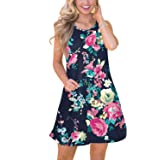 Spadehill Womens Summer Beach Floral Printed Sundress with Side Pockets