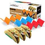 CHARMOUNT Taco Holder Stand Set of 4 Taco Rack Holders - Premium Taco Shell Holder Stand on Table with Handle, Hold 2 or 3 Ha