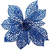 Crazy Night (Pack of 10) Glitter Blue Poinsettia Christmas Tree Ornaments (Blue)