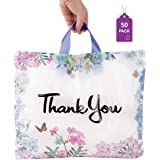 """Floral Thank You Plastic Bags 50 Pack with Soft Loop Handle 12"""" x 15"""" Thank You Shopping Bags"""