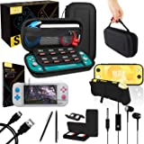 Orzly Switch Lite Accessories Bundle - Includes Carry case & Screen Protector for Nintendo Switch Lite Console (2019), USB Ca