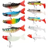 Soft Fishing Lures for Bass Jig Head Fishing Soft Plastic Lures with Hook Sinking Swimbaits for Saltwater and Freshwater Fish