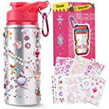Decorate and Personalize Your Own Water Bottles for Girls with Tons of Rhinestone Glitter Gem Stickers BPA Free Kids Water Bo