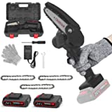 Mini Chainsaw, 4-Inch Portable Rechargeable Cordless Power Chain Saw, 24V 2000mAh Electric Handheld, Splash Guard & Safety Sw