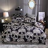 ZHH Skull Bedding Set Black and White Floral Skull Skeleton Microfiber Full Size Duvet Cover Set 3 Piece (Queen)
