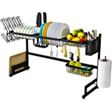 BRIAN & DANY Over Sink Dish Drying Rack, Multifunctional Large Dish Drainers for Kitchen, Stainless Steel Storage Organizer w