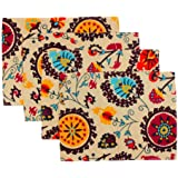 KEPSWET Placemats Set of 4 Colorful Reversible Placemats for Dining Table Cotton Washable Table Mats Boho 12x18 Inch