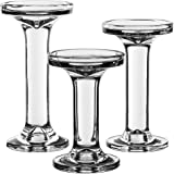 """CYS EXCEL Glass Candle Holders for 3"""" Pillar or 3/4"""" Taper, GCH204/08S3/MVG, Glass, Series 4, H-5.25"""", 6.25"""" and 7.25"""", Clear"""