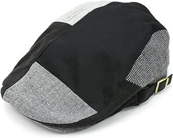 [クリサンドラ] ハンチング帽 メンズ メッシュ パッチワーク クレイジー ハンチング 帽 デニム アジャスター付き フリーサイズ カジュアル ブランド 帽子
