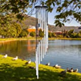 Wind Chime Outdoor Large Sliver Aluminium Tube Wind Chime Solid Wood and 18 Scrub Aluminum Alloy Gold Tubes Wind Chime 36'' L