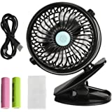 VIPITH Battery Operated Clip on Stroller Fan, 360 Degree Rotation Mini Portable Desk Fan with Two Rechargeable Batteries for