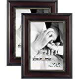 GraduationMall Picture Frames for 5x7 Photo,2-Pack,Real Glass,Mahogany with Gold Beading,Wall & Tabletop Design