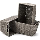 EZOWare Set of 3 Paper Rope Woven Storage Baskets with Handles, Braided Multipurpose Organiser Box Perfect for Storing Small