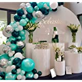 Oopat Tifanny Blue and Dark Teal Peacock Balloon Garland Arch Kit for Woodland Baby Shower Bridal Shower Birthday Wedding Bal