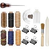 Bookbinding Kit, Kootiko Bookbinding Supplies, Book Binding Starter Tools Set with Real Bone Folder,Paper Awl, Large-Eye Need