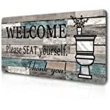 "Smarten Arts Funny Bathroom Wall Decor Sign Farmhouse Rustic Bathroom Decorations Wall Art 16"" by 8"" Please Seat Yourself Lar"