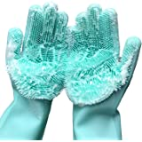 Magic Saksak Washing Cleaning Gloves, 1 PAIR Reusable Silicone Brush Scrubber Gloves Heat Resistant for Dish washing, Kitchen