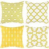 Ikfashoni Lemon Yellow Throw Pillow Case Arrow Quatrefoil Accent Trellis Chain Pillow Cover Modern Cushion Cover Square Pillo