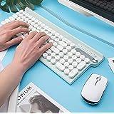 LT500 ワイヤレスキーボードマウスセット 2.4GHz無線キーボード 静音 薄型 英語配列 USB充電式 テンキー付き タイプライターキーボード レトロ風 大型キーボード スタンド機能付き 省エネ 打ちやすい おしゃれ ノートパソコンPC対応 U