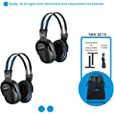 2 Pack of Wireless Car Headphones, Wireless Headphones for Kids, in Car Wireless Headphones with Travelling Bag for Universal