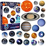 Magdum Space Photo Solar System Learning Magnets for Kids- Planet Astronomy Universe Galaxy Magnets for Fridge- Magnetic Educ