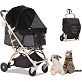HPZ Pet Rover Lite Travel Stroller for Small & Medium Dogs, Cats & Pets (Black)