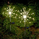 Anordsem Solar Lights Outdoor Decorative Firework Lights Warm White LED Solar Powered String Light with 2 Lighting Modes Twin