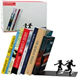 Runaway Bookend - Falling Books on a Running Couple - Black Metal Bookend - Gifts for Couples Romantic Gift