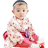Sweet Mommy 袴 ロンパース ベビー 着物 カバーオール 日本製和柄ちりめん ホワイト 90