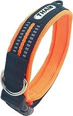 THAIN 首輪 犬 小型犬 犬の首輪 犬用 首輪 小型犬 3M反射材料 ナイロン製 ダイビング布 通気性 弾力性 ソフト ベルクロ調整(S,オレンジ)