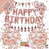 風船 誕生日 飾り付け バルーン Happy Birthday X2 セット パーティー ローズゴールド 豪華で大容量 女性 子供 少女のための誕生日 プレゼント 人気 バルーン誕生日装飾セット PartyUnion
