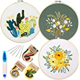 3 Pack Embroidery Starter Kit with Pattern and Instructions,Cross Stitch Set, Full Range of Stamped Embroidery Kits with 3 Em
