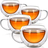 Teabloom Modern Classic Insulated Cups - Double Walled Glass Cups for Tea or Coffee - 6oz / 200ml (Set of 4)
