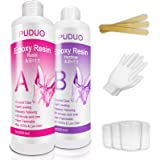 Epoxy-Resin-Crystal-Clear-Kit for Art, Jewelry, Crafts,Coating- 16 Oz | Bonus 4 pcs Graduated Cups, 3pcs Sticks, 1 Pair Rubbe