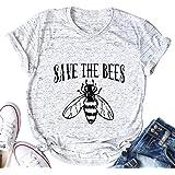 licson Save The Bees Honey T Shirt Women Cute Graphic Letter Print Environmentalist T-Shirt Tops Tee
