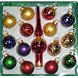 15-Piece Multi-Color Miniature Glass Ball and Finial Tree Topper Christmas Ornament Set
