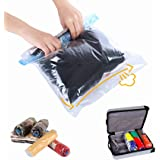 Travel Space Saver Bags Vacuum Travel Storage Bags Reusable Packing Sacks (10 Pack), No Vacuum Pump Needed, Save 80% Luggage