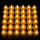 Realistic Bright Flameless LED Tea Light Candles, Bright, Flickering, Battery Powered Fake Candles, Unscented Tealights, Pack