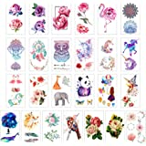 glaryyears Temporary Tattoo Sticker - Over 55 Flower and Animal Designs (25 Sheets) in Waterproof Fake Tattoo Rose Dreamcatch