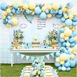 Pastel Balloon Garland Arch Kit with 100 pcs Blue and Yellow Balloons, DIY Balloon Bouquet Kit for Baby Shower, Wedding Bache