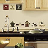 RoomMates RMK1254SCS Coffee House Peel & Stick Wall Decals, Multicolor, 10 inch x 18 inch