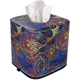 QIELIZI Tissue Box Cover,PU Leather Magnetic Closure Tissues Cube Box Cover for Bathroom Vanity Countertops, Bedroom Dressers